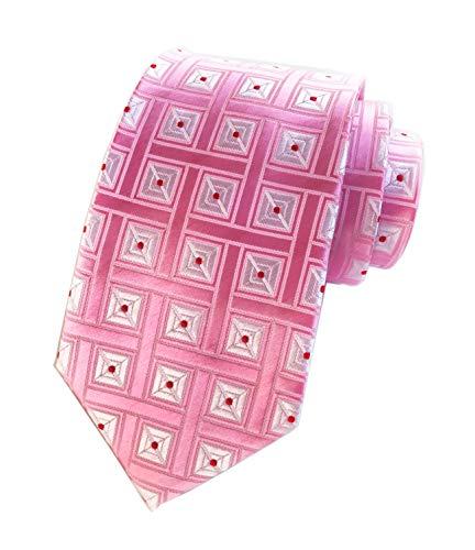 Elfeves Men's Pink White Checks Red Dots Jacquard Woven Silk Ties Dress Neckties