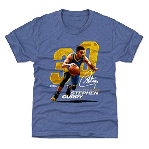 500 LEVEL Golden State Basketball Youth Shirt - Kids Large (10-12Y) Tri Royal - Steph Curry Offset Y WHT ()