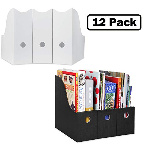 - Magazine File Holder (Set of 12, 6 White, 6 Black), Sturdy Cardboard Magazine Holder, Folder Holder, Magazine Organizer, Folder Organizer, Magazine Box, File Storage, or Book Bins