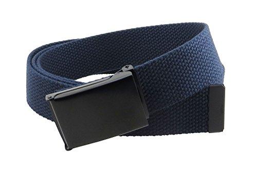(Canvas Web Belt Flip-Top Black Buckle/Tip Solid Color 50