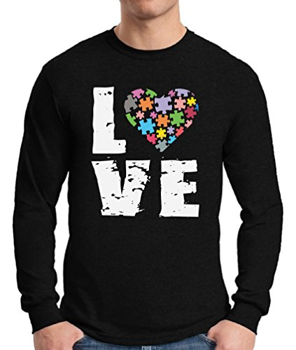 - Awkward Styles Men's Love Puzzles Autism Awareness Graphic Long Sleeve T Shirt Tops Autistic Support Black XL