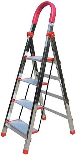 ZEQUAN Taburete con peldaños Escalera Plegable de Acero Inoxidable con 4 peldaños, Taburete de Escalera para pasamanos Conveniente para el hogar, Taburete para pies portátil, Carga 200 kg: Amazon.es: Hogar