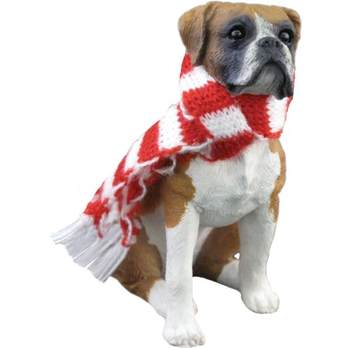 Sandicast Fawn Boxer with Red and White Scarf Christmas Ornament