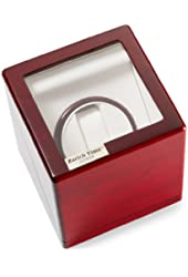 Diplomat Single Cherry Wood Watch Winder with White Leatherette Interior