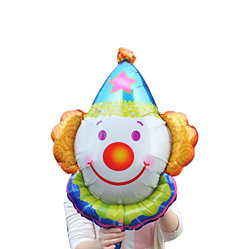 (Romote Clown Face Foil Balloon Funny Jumbo Smiling Clown Aluminum Foil Balloon Christmas Holiday Kids Party Decoration Blue)