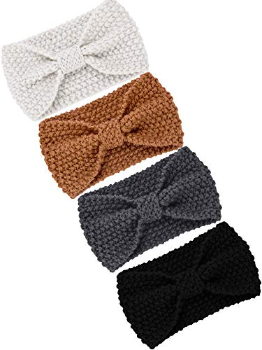 TecUnite 4 Pieces Chunky Knit Headbands Winter Braided Headband Ear Warmer Crochet Head Wraps for Women Girls (Color set 2) (Piece 2 Headband)