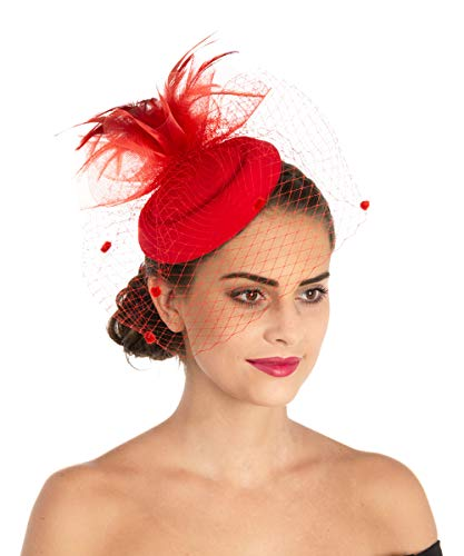(Lucky Leaf Women Girl Fascinators Hair Clip Hairpin Hat Feather Cocktail Wedding Tea Party Hat (6-Red))