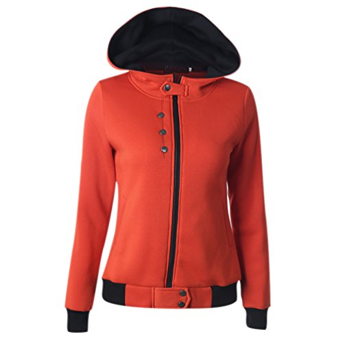 Abrigo Capucha Manga Invierno Mujer Naranja Suelto Hooded Chaquetas Sudaderas Larga Cremallera Parka con Cazadora Rojo Jersey con qB0qX