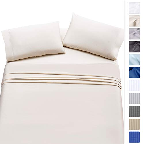 California Design Den Twin XL Size Ivory Cotton Sheets - 500 Thread Count 100% Cotton Sheet Set - 3 Piece Set Long-Staple Combed Pure Natural Cotton Bedsheets, Fits Mattress Upto 17'', Deep Pocket