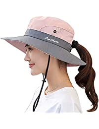 c86684258cb5e5 Ponytail Women's Summer Sun Bucket Hats UV Protection Safari Hiking Wide  Brim Beach Foldable Mesh Fishing