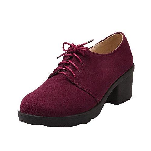 Chaussures AllhqFashion Femme Lacet d'orteil Vineux Correct à Fermeture Rouge Légeres Talon n07rn