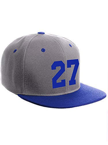 Classic Flat Bill Visor Snapback Hat Custom Color Player Team Numbers, Number 27 Royal, Grey Royal Hat