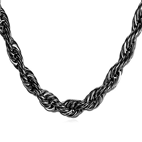 U7 3mm 9mm Stainless Twisted Necklace