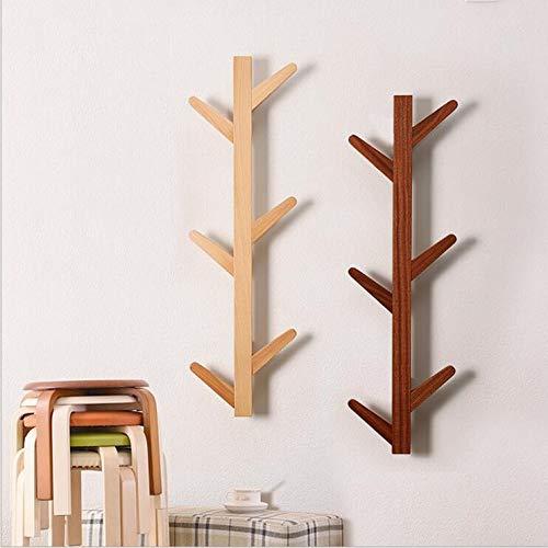 QSBY Coat Rack Solid Wood Tree Twig Wall Hook Towel Rack for Home Office Hallway Waiting Room Living Room Bedroom 6 Hooks Black Ebony