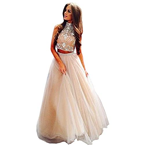 Lovelybride Noble 2 Piece High Neck Embellished Bodice Tulle Ball Gown Prom Dress, Ivory, 4