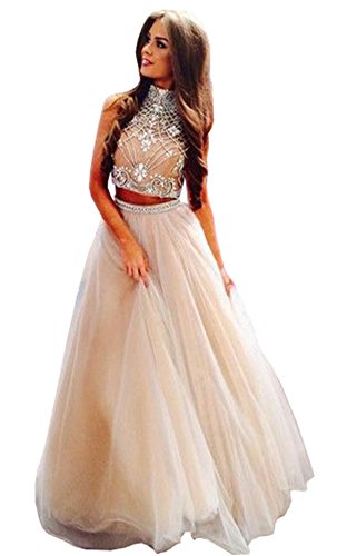 - Lovelybride Noble 2 Piece High Neck Embellished Bodice Tulle Ball Gown Prom Dress, Ivory, 10