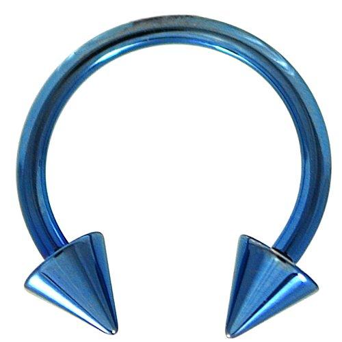 14G(1.6mm) Lt Blue Titanium IP Steel Circular Barbells Horseshoe Rings w/Spike Ends (Sold in Pairs) (14 Gauge 1/2