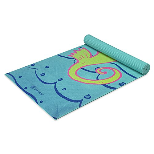 Gaiam Kids Yoga Mat Exercise Mat, Yoga for Kids with Fun Prints – Playtime for Babies, Active & Calm Toddlers and Young Children, Seahorse, 3mm