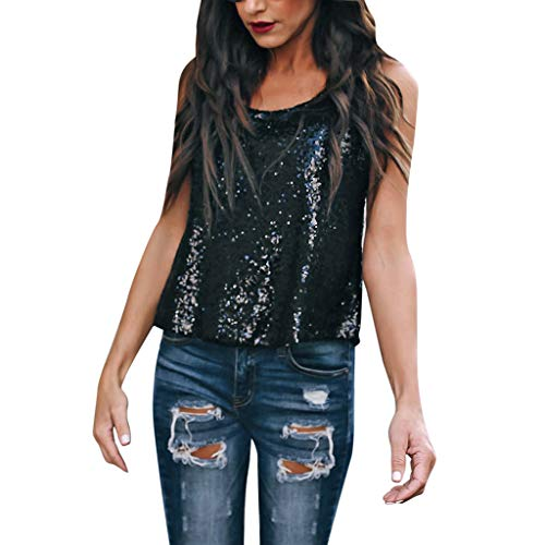 (Hotcl Summer Womens Sexy Sequins Camis Tanks Vest Camisole Spaghetti Strap Clubwear T-Shirt,Best Gift Valentine's Day Black)