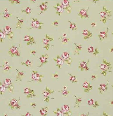 Clarke Rosebud Sage Green Vintage Shabby Chic Designer Curtain Fabric Sold By The Metre