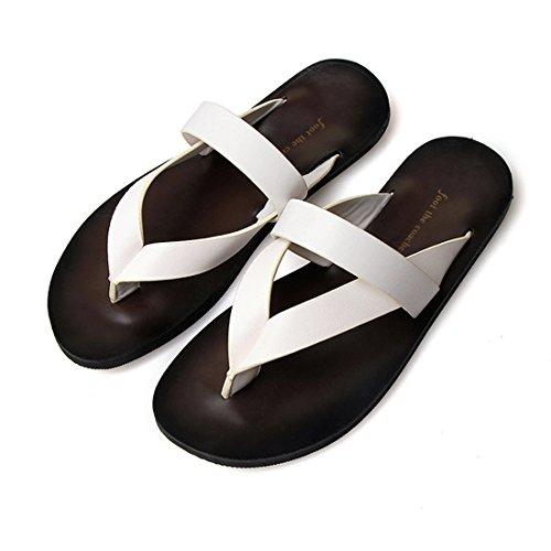 Pantofole Casual Da Uomo In Pelle Da Spiaggia Estiva In Pelle Yw04 Bianco