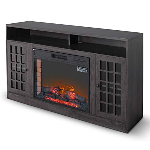 DELLA Electric Fireplace Media Console Mantel TV Stand with Glass Doors, CSA Certified, Grey