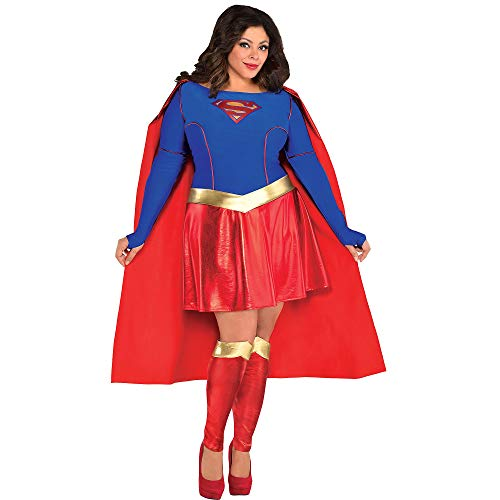 Costumes USA Superman Supergirl Costume for Adults, Plus Size, Includes a Dress with an Attached Cap and Leg Warmers -