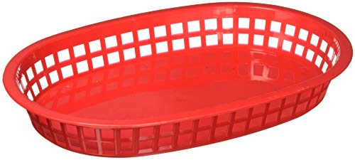 Winco Oval Platter Baskets, 10.75-Inch by 7.25-Inch by 1.5-Inch Red set of 12