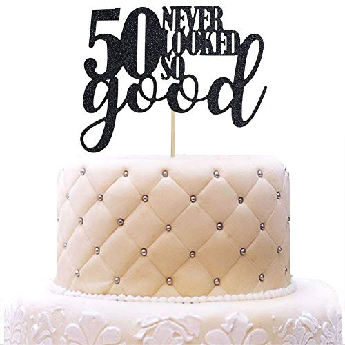 50 Never Looked So Good Cake Topper for 50th Birthday Wedding Anniversary Party Decorations Black Glitter