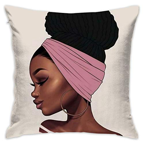 African Pillowcase - SARA NELL Velvet Throw African Woman Pillow Cases,Black Art African American Traditional Women,Pillow Covers Decorative 18x18 in Pillowcase Cushion Covers with Zipper
