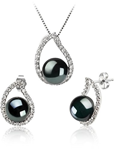 PearlsOnly - Isabella Black 9-10mm AA Quality Freshwater 925 Sterling Silver Cultured Pearl Set by PearlsOnly
