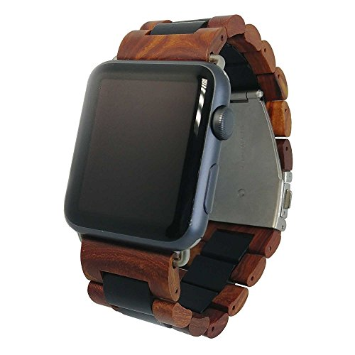 Ottm Watch Band Compatible with Apple Watch 38mm Unique Wooden Watch Band for Apple iWatch with extra links and tool for resizing (38 Sandalwood)
