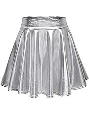 BOLUOYI Women's Shiny Flared Pleated Mini Skater Skirt Flared Pleated A-Line Mini Skirt
