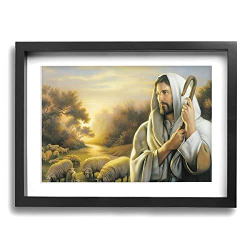 Baohuju Jesus Christ The Good Shepherd Canvas Art Wall Giclee Room Office Paintings Wall Home Decor 16 X 12 Inch