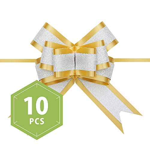 PACKHOME 10 Gold Gift Bows Large, 6.5 inches, Gift Pull Bows for Presents, Gift Bows Bulk for Baskets