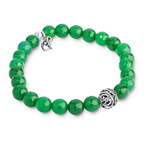 Carolyn Pollack Sterling Silver Green Agate Gemstone Beaded Stretch Bracelet One Size Fits Most ()