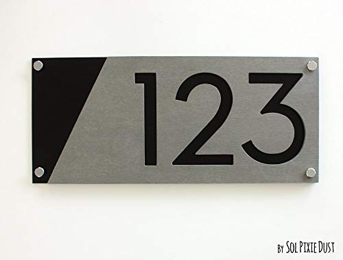 Modern House Numbers, Concrete with Black Acrylic - Contemporary Home Address -Sign Plaque - Door Number