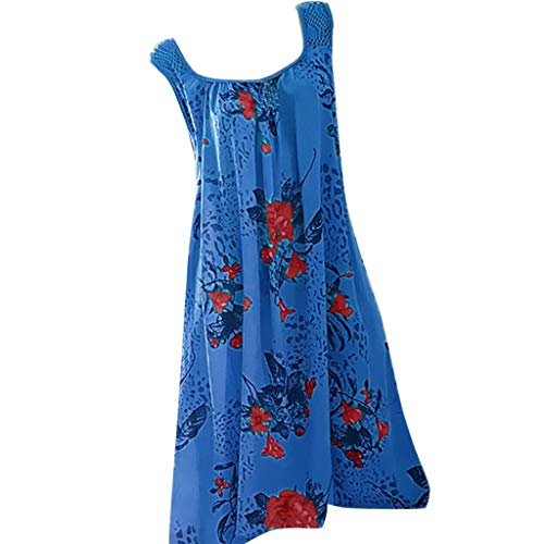 - Women Floral Printed Crew Neck Tank Dresses Casual Sleeveless Swing Dress Casual Tunic Top T Shirt Dress by Lowprofile Blue