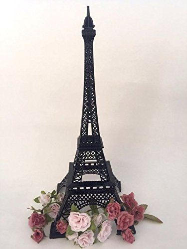(15 Inch (38cm) Black Metal Eiffel Tower Statue Figurine Replica)