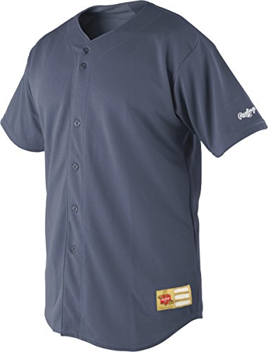 Rawlings Sporting Goods Men's Full-Button Jersey, Graphite, Size 44