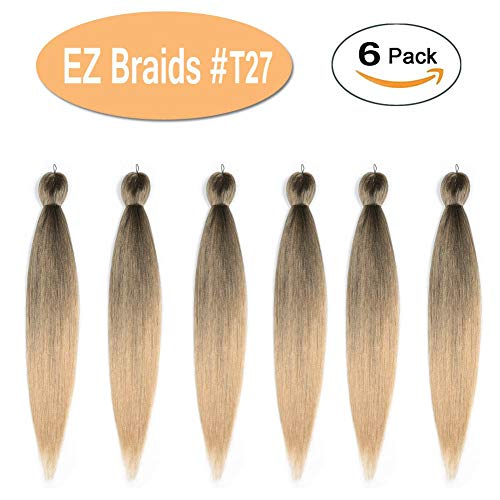 """Beauty : Pre Stretched Braiding Hair Ombre, Black to Strawberry Blonde Synthetic Hair Extensions Crochet EZ Braid Pre-Stretched Braid Yaki Texture Fiber for Twist Braid (#T27 20""""-6 Packs/Lot)"""