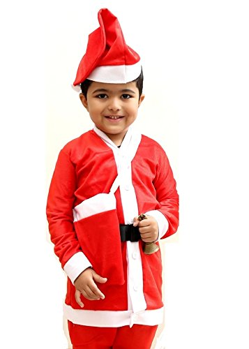 5d28a2184f10 Buy Mobison Kids Santa Claus Dress (Red, 3-4 Years) Online at Low Prices in  India - Amazon.in
