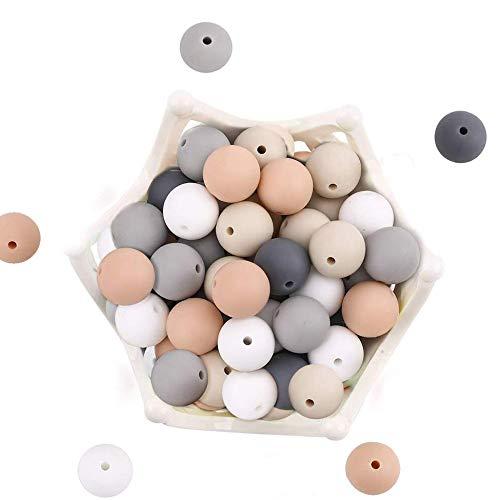 let's make 15mm 50pc Baby Siliconen Tandjes Kralen Voedingswaarde Kauwkralen voor DIY Nursing Necklace, Verlicht de…