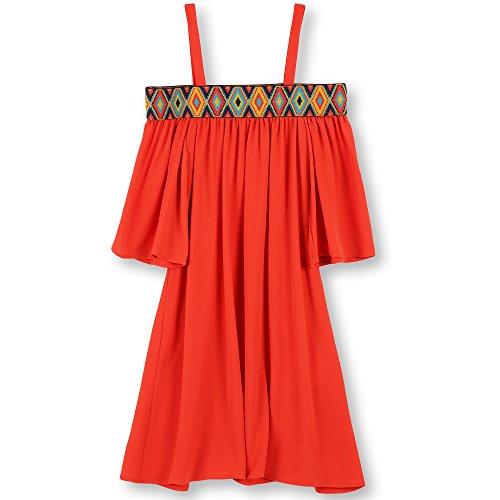 Speechless Big Girls' Aztec Boarder 3/4 Sleeve Off the Shoulder Dress, Burnt Orange, 8