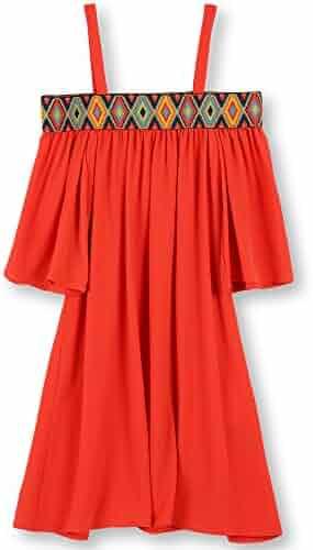 Speechless Big Girls' Aztec Boarder 3/4 Sleeve Off the Shoulder Dress