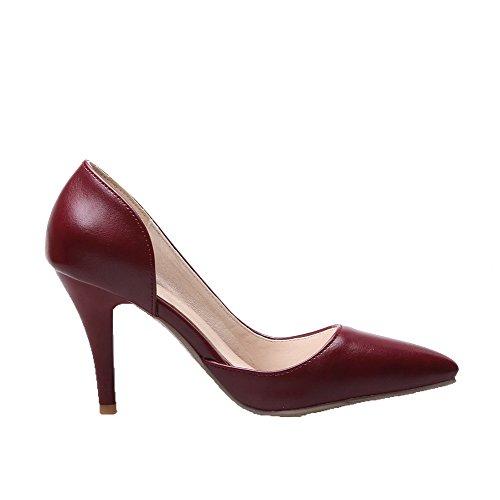 Damen Ziehen auf Spitz Zehe Hoher Absatz PU Rein Pumps Schuhe, Weinrot, 41 VogueZone009