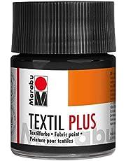 Marabu-Textil Plus - Colori per Tessuti Scuri, 50 ml, Colore Nero