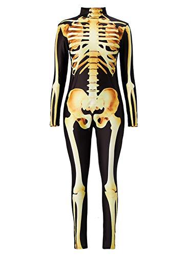 Uideazone Women 3D Skeleton Skull Bone Romper Halloween Cosplay Costumes Long Sleeve Jumpsuit Bodysuit -