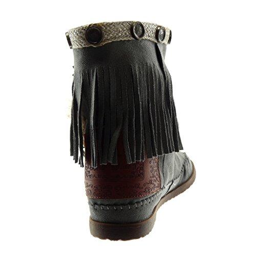 Mujer Pluma Tachonado Tacón Zapatillas Angkorly Botas Gris Botines Slip Fleco 1 Ancho 5 Moda Folk Mocasines on Cm 8fcc1Pv