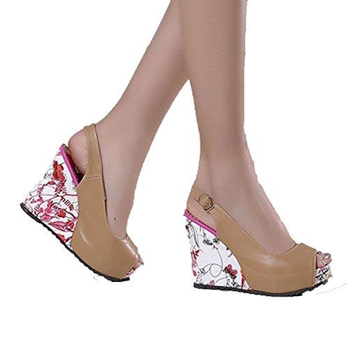 Sky-Pegasus Women High Heels Shoes Open Toe Platform Buckle Women Summer Shoes 4 Colors Big Size 33-41,Khaki,7.5